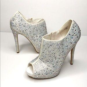 Lauren Lorraine Etro Peep Toe Crystal Bootie 6.5